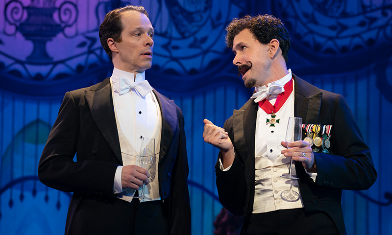 Laird Mackintosh and Wade McCollum in the national tour of <i>My Fair Lady</i>. Photo by Joan Marcus.