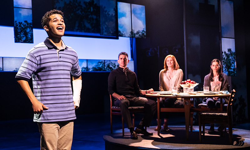 Jordan Fisher, Ivan Hernandez, Christiane Noll, and Gabrielle Carrubba in <i>Dear Evan Hansen</i>. Photo by Matthew Murphy.
