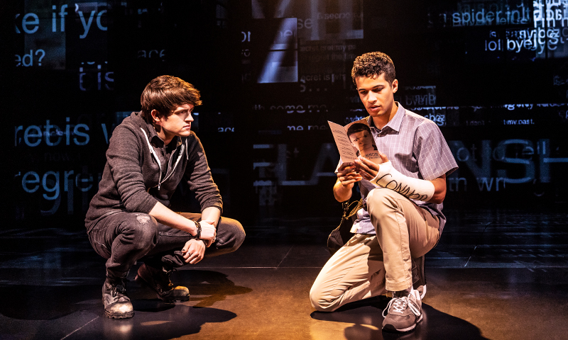 David Jeffery and Jordan Fisher in <i>Dear Evan Hansen</i>. Photo by Matthew Murphy.
