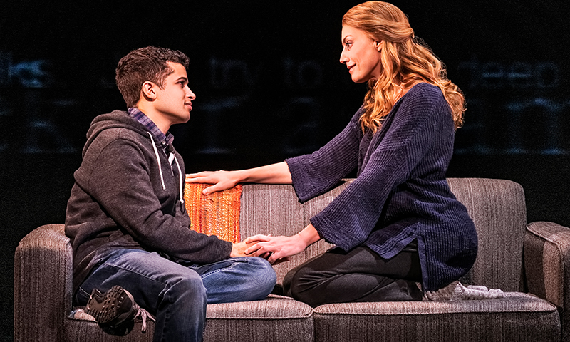 Jordan Fisher and Jessica Phillips in <i>Dear Evan Hansen</i>. Photo by Matthew Murphy.