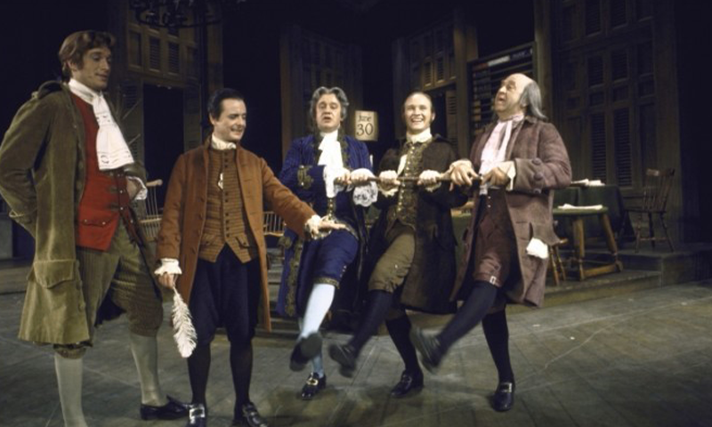 Ken Howard, William Daniels, Henry LeClair, David Vosburgh, and Howard Da Silva in the Broadway production of <i>1776.</i> Photo by Martha Swope for the NYPL for the Performing Arts.
