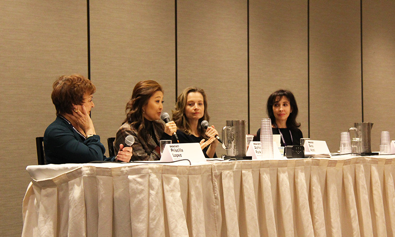 Priscilla Lopez, Ashley Park, Bess Wohl, and Elysa Gardner at BroadwayCon.