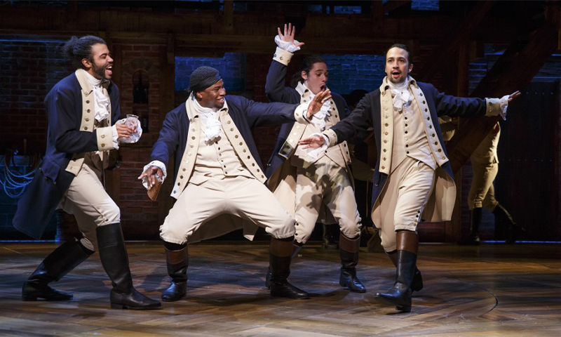 Daveed Diggs, Okieriete Onaodowan, Anthony Ramos, and Lin-Manuel Miranda in the Broadway production of Hamilton. Photo by Joan Marcus.