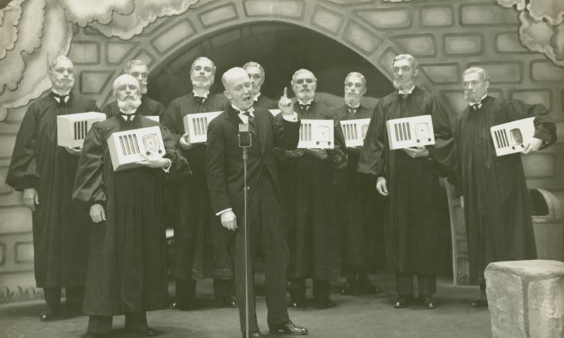George M. Cohan with the Supreme Court in the Broadway Production of <i>I'd Rather Be Right.</i> Photo by Vandamm Studio for the NYPL.