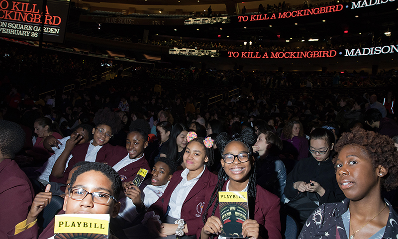 Students in the audience of <i>To Kill a Mockingbird</i> at Madison Square Garden. Photo by Julieta Cervantes.