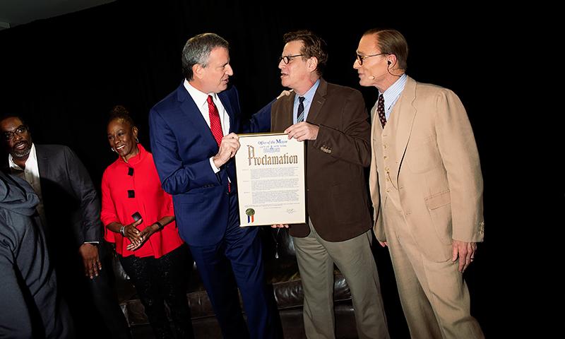 Mayor Bill de Blasio, Aaron Sorkin, and Ed Harris. Photo by Little Fang.