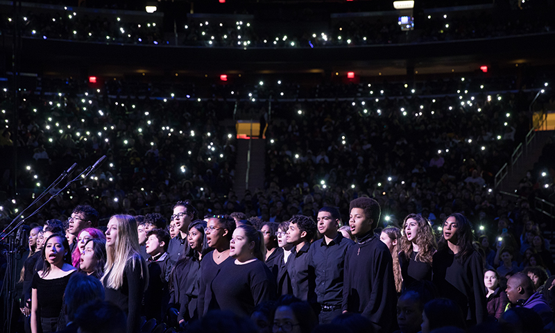 A New York City school choir performs at <i>To Kill a Mockingbird</i> at Madison Square Garden. Photo by Julieta Cervantes.