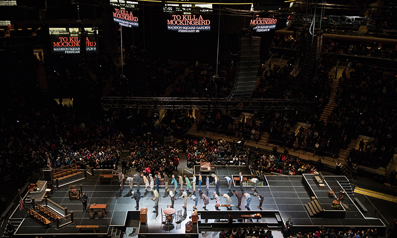 The cast of <i>To Kill a Mockingbird</i> at Madison Square Garden. Photo by Julieta Cervantes.