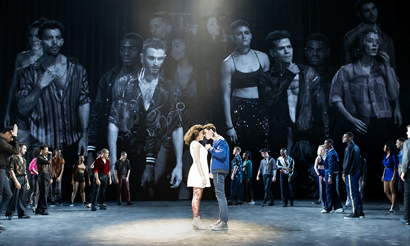 Shereen Pimentel, Isaac Powell and the cast of <i>West Side Story</i>. Photo by Jan Versweyveld.