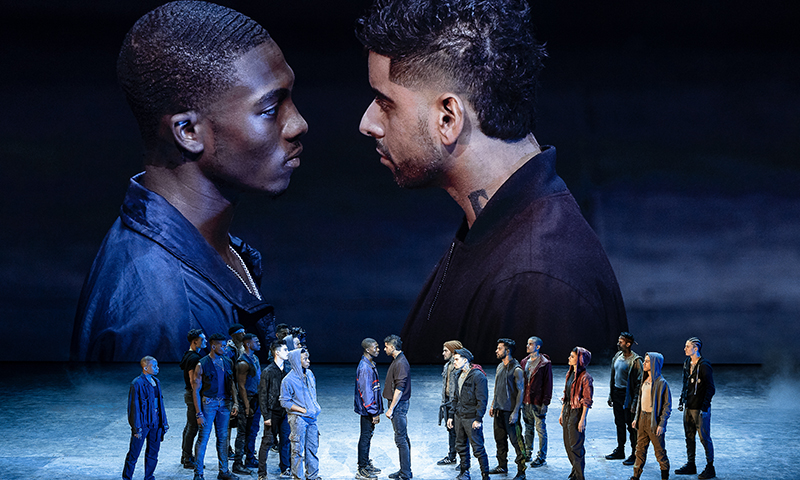Dharon E. Jones, Amar Ramasar, and the cast of <i>West Side Story</i>. Photo by Jan Versweyveld.