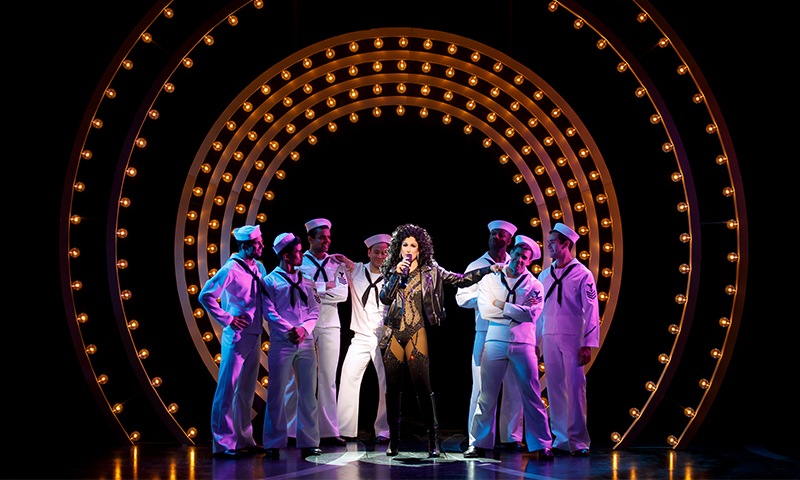 Stephanie J. Block and the cast of <i>The Cher Show</i>. Original Broadway Company. Photo by Joan Marcus.