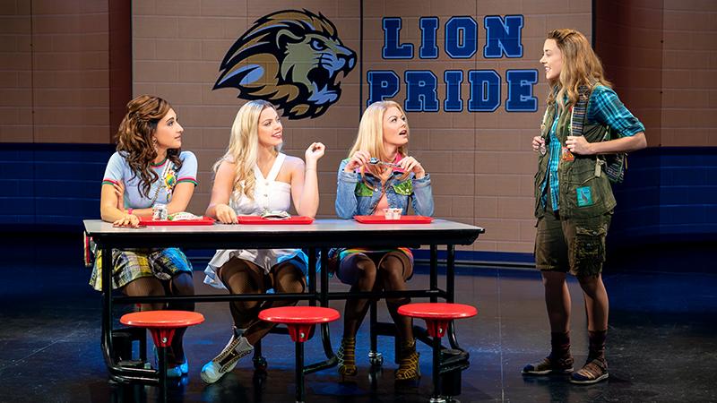 Krystina Alabado, Renee Rapp, Kate Rockwell, and Erika Henningsen in Mean Girls. Photo by Joan Marcus.