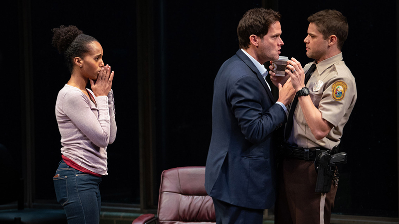 Kerry Washington, Steven Pasquale, and Jeremy Jordan in <i>American Son</i>. Photo by Peter Cunningham.
