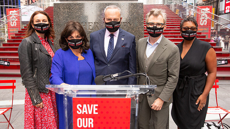 The Broadway League and Senator Schumer at the Save Our Stages Press Conference