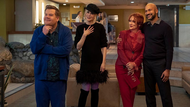 James Corden, Nicole Kidman, Meryl Streep and Keegan-Michael Key in <i>The Prom</i>. Photo by Melinda Sue Gordon for Netflix.