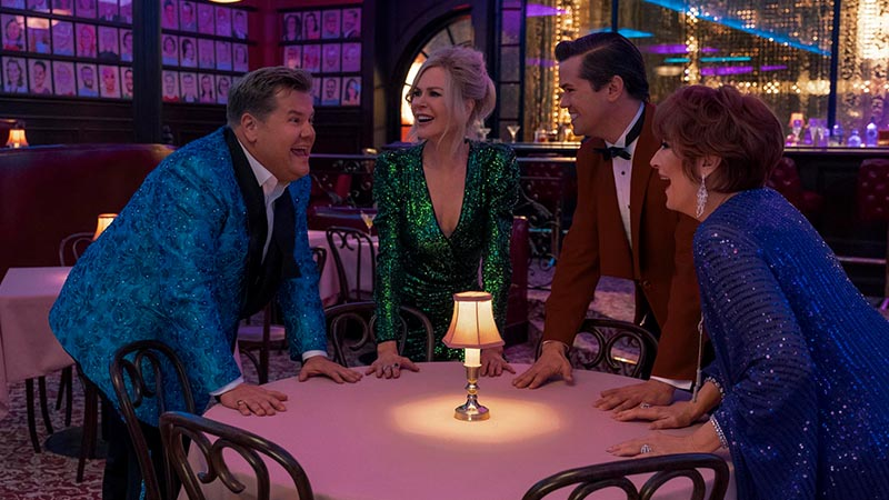 James Corden, Nicole Kidman, Andrew Rannells, and Meryl Streep in <i>The Prom</i>. Photo by Melinda Sue Gordon for Netflix.