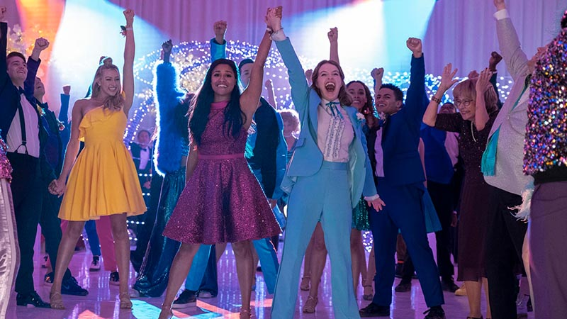 Nico Greetham, Logan Riley Hassel, Ariana DeBose, Andrew Rannells, Jo Ellen Pellman, Sofia Deler, Nathaniel Potvin, Tracey Ullman, and James Corden in <i>The Prom</i>. Photo by Melinda Sue Gordon for Netflix.