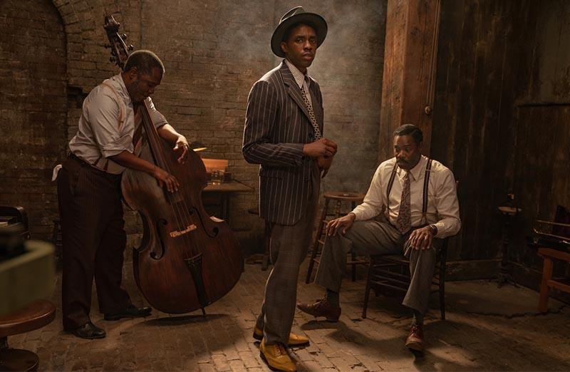 Colman Domingo, Michael Potts, and Chadwick Boseman in <i>Ma Rainey's Black Bottom</i>. Photo by David Lee for Netflix.
