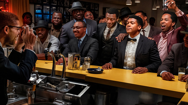 Aldis Hodge, Leslie Odom Jr., Eli Goree, and Kingsley Ben-Adir in <i>One Night in Miami</i>. Photo by Patti Perret for Netflix.