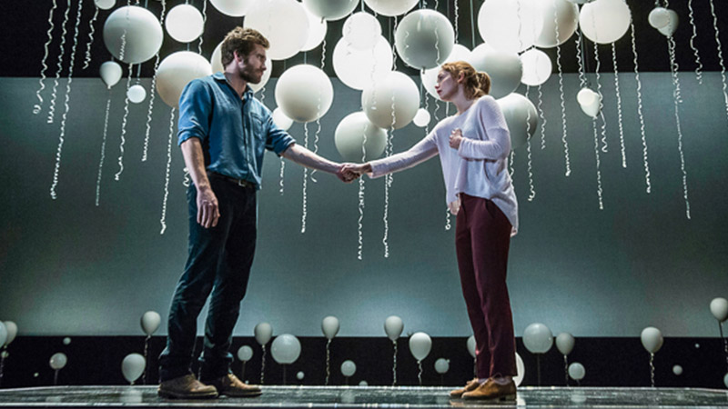 Jake Gyllenhaal and Ruth Wilson in <i>Constellations.</i> Photo by Joan Marcus.
