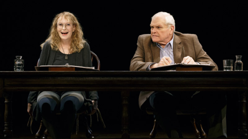 Mia Farrow and Brian Dennehy in <i>Love Letters</i>. Photo by Carol Rosegg.
