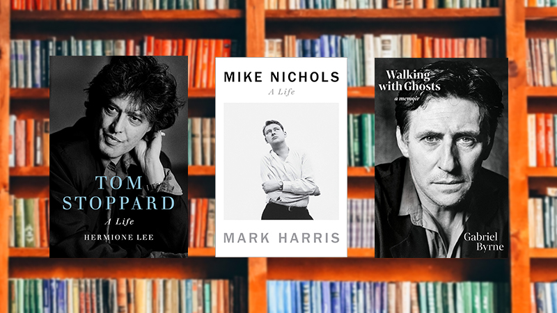Tom Stoppard: A Life, Mike Nichols: A Life and Walking with Ghosts on a library background
