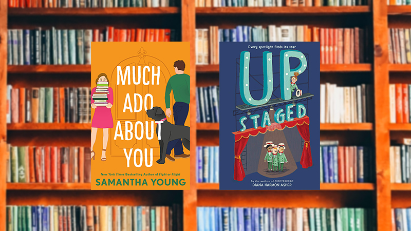 Much Ado about You and Upstaged on a library background