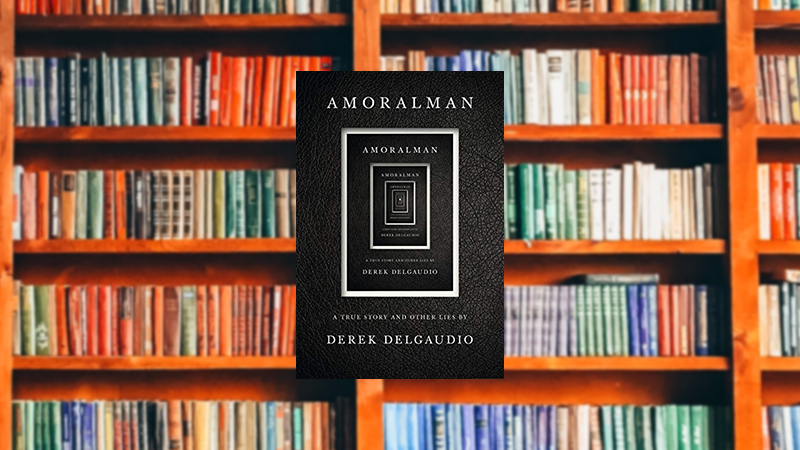 Amoralman on a library background