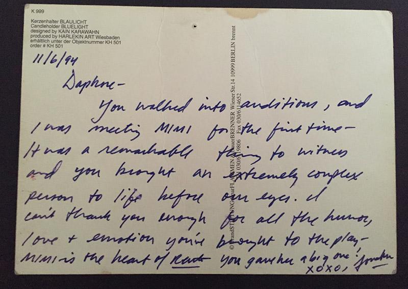 The postcard Jonathan Larson sent to Daphne Rubin-Vega.