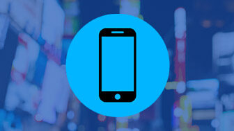 Phone icon on blue background