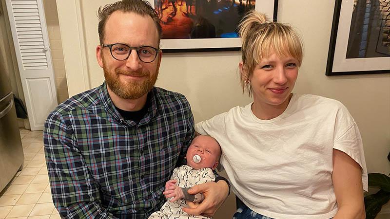 <i>Jagged Little Pill</i>'s Heather Lang with her partner, Matt, and Felix.
