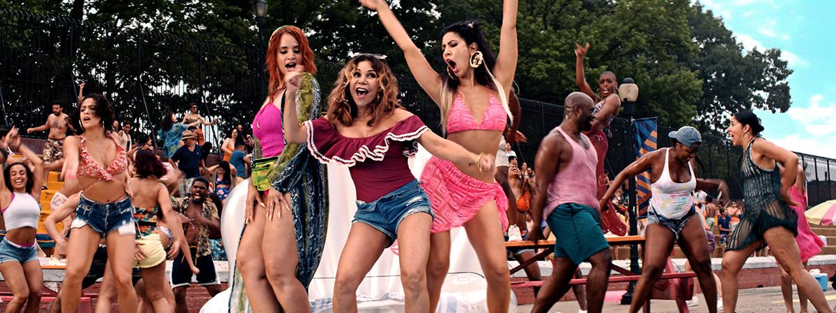 Dasha Polanco as Cuca, Daphne Rubin-Vega as Daniela and Stephanie Beatriz as Carla in Warner Bros. Pictures' In the Heights, a Warner Bros. Pictures release. Photo courtesy of Warner Bros. Pictures.