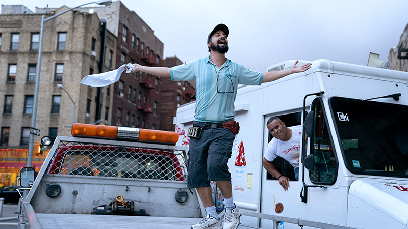 Lin-Manuel Miranda as Piragüero and Christopher Jackson as Mr. Softee Truck Driver in Warner Bros. Pictures' <i>In the Heights</i>, a Warner Bros. Pictures release. Photo by Macall Polay.