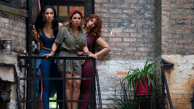 Stephanie Beatriz as Carla, Daphne Rubin-Vega as Daniela and Dasha Polanco as Cuca in Warner Bros. Pictures' <i>In the Heights</i> a Warner Bros. Pictures release. Photo by Macall Polay.