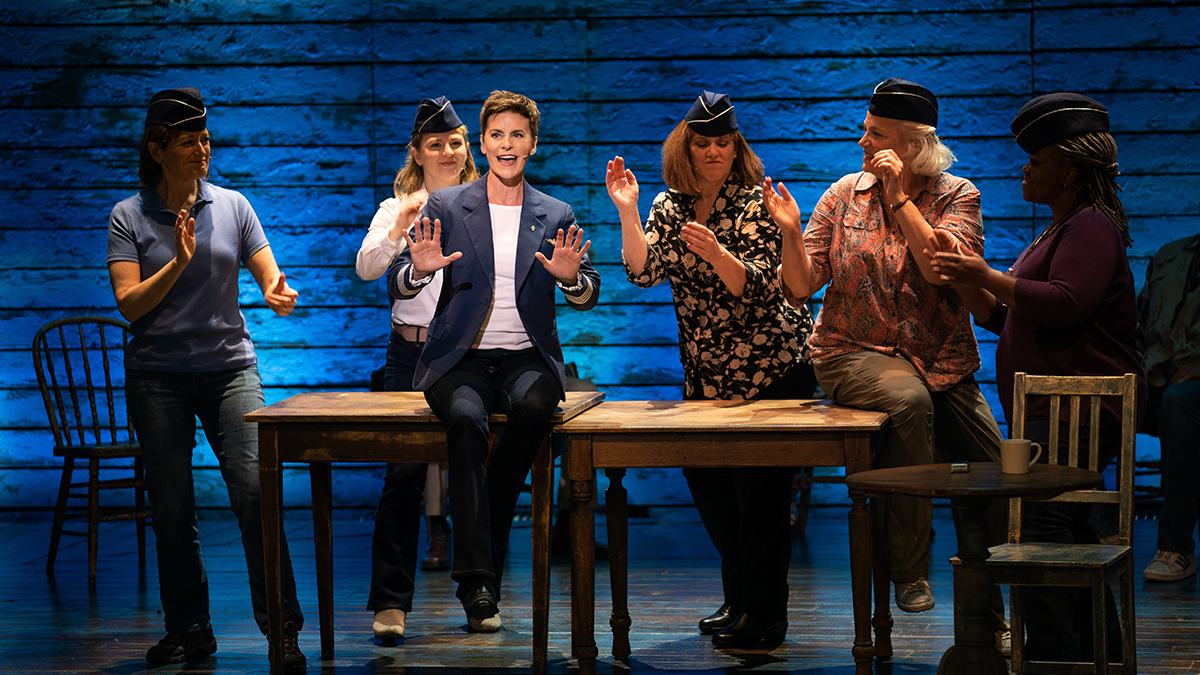 """Petrina Bromley, Emily Walton, Jenn Colella, Sharon Wheatley, Astrid Van Wieren and Q. Smith in """"Come From Away,"""" premiering September 10, 2021 on Apple TV+."""