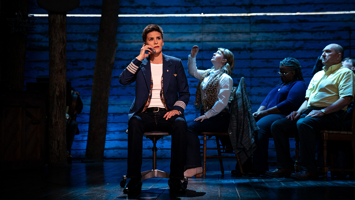 """Jenn Colella, Emily Walton, Q. Smith and Joel Hatch in """"Come From Away,"""" premiering September 10, 2021 on Apple TV+."""
