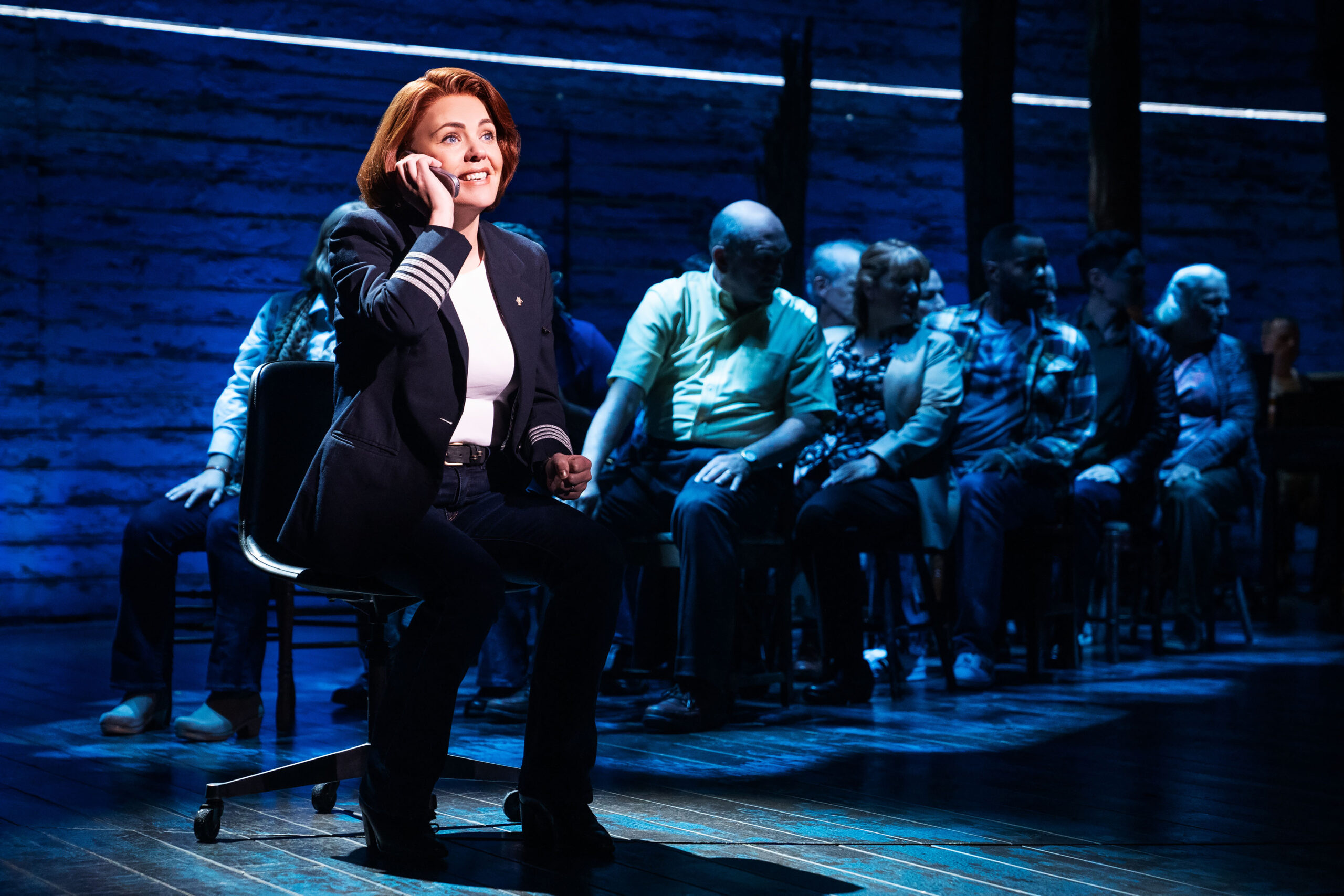 Rachel Tucker and the Company of <i>Come From Away</i>. Photo by Matthew Murphy.