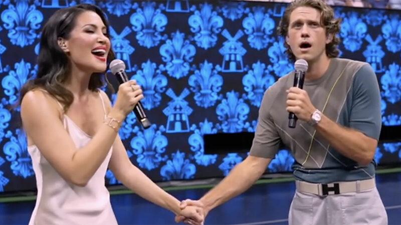 Natalie Mendoza and Aaron Tveit