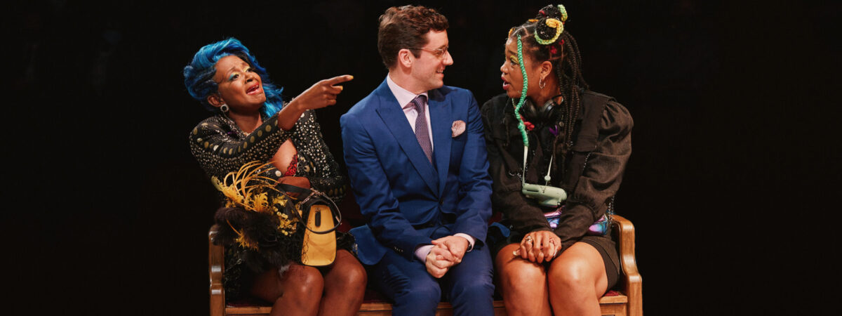 Ebony Marshall-Oliver, Michael Urie, and Aigner Mizzelle in Chicken & Biscuits. Photo by Emilio Madrid.
